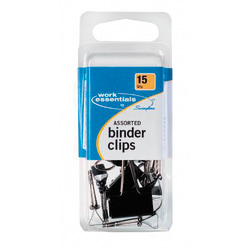 Swingline® Binder Clips, Assorted Sizes, Black, Pack Of 15