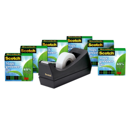 "Scotch® Magic™ Greener Invisible Tape With Desktop Dispenser, 3/4"" x 900"", Clear, Pack of 6 rolls"
