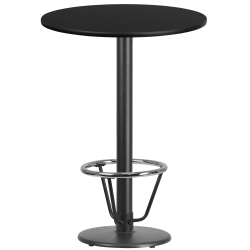 """Flash Furniture Round Bar-Height Table With Foot Ring, 43-1/8""""H x 30""""W x 30""""D, Black"""