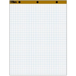 """TOPS 1"""" Grid Square Easel Pads - 50 Sheets - Stapled/Glued - 16 lb Basis Weight - 27"""" x 34"""" - White Paper - Perforated, Bond Paper, Leatherette Head Strip - 4 / Carton"""
