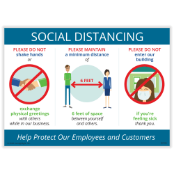 """ComplyRight™ Social Distancing Guidelines Poster, English, 14"""" x 10"""""""