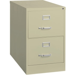 """Lorell® Fortress 26-1/2""""D Vertical 2-Drawer Legal-Size File Cabinet, Metal, Putty"""