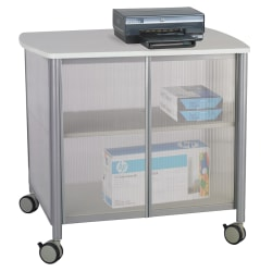 """Safco® Impromptu Machine Stand, Deluxe With Doors, 30 3/4""""H x 34 3/4""""W x 25 1/2""""D, Gray"""