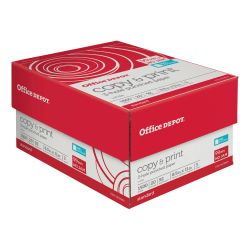 "Office Depot® Brand 3-Hole Punched Copy And Print Paper, Letter Size (8 1/2"" x 11""), 104 (US)/92 (Euro) (U.S.) Brightness, 20 Lb, Ream Of 500 Sheets, Case Of 3 Reams"