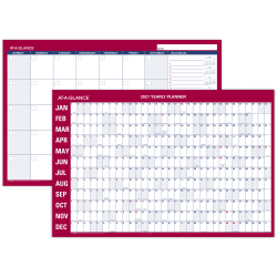 "AT-A-GLANCE® Horizontal Erasable Monthly/Yearly Wall Calendar, 36"" x 24"", Blue/Red, January To December 2021, PM2828"