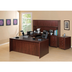 "Lorell® Essentials Series Rectangular Shell Desk, 72""W x 36""D, Mahogany"
