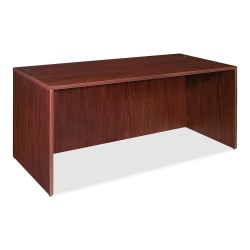 "Lorell® Essentials Series Rectangular Shell Desk, 66""W x 30""D, Mahogany"