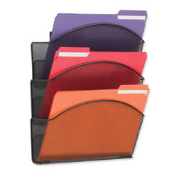 "Safco® Onyx Mesh Letter-Size Triple Wall Pocket, 17 1/4""H x 12""W x 3 1/4""D, Black"