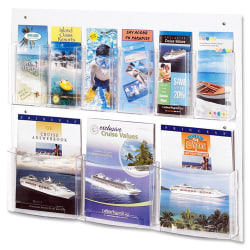 "Safco Nine Compartment Magazine/Pamphlet Display - 9 Compartment(s) - Compartment Size 7"" x 2"" x 9.12"" - 23.5"" Height x 28"" Width x 3"" Depth - Clear - Polycarbonate, Polyethylene - 1 / Each"