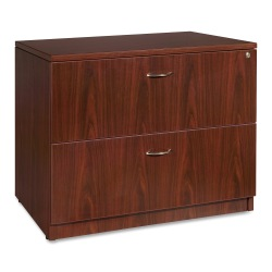 "Lorell® Essentials 36""W Lateral 2-Drawer File Cabinet, Metal, Mahogany"
