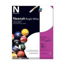 """Neenah Card Stock - Letter - 8 1/2"""" x 11"""" - 65 lb Basis Weight - Smooth - 100 / Pack - Bright White"""