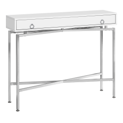 """Monarch Specialties Charlotte Metal Accent Table, 32-1/2""""H x 42-1/2""""W x 12""""D, Glossy White/Chrome"""