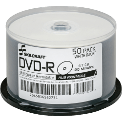 SKILCRAFT® Inkjet Printable DVD-R Recordable Media With Spindle, 4.70 GB/120 Minutes, Pack Of 50 Pack
