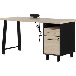 "South Shore Kozack 60""W Computer Desk, Soft Elm/Matte Black"