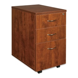 "Lorell® Essentials 22""D Vertical 3-Drawer Mobile Pedestal File Cabinet, Metal, Cherry"