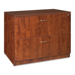 """Lorell® Essentials 36""""W Lateral 2-Drawer File Cabinet, Metal, Cherry"""