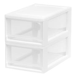 "Iris® Plastic Modular Drawers, 5 3/8"" x 8 1/2"" x 13 1/8"", White, Set Of 2"