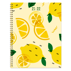 """TF Publishing Large Weekly/Monthly Planner, 9"""" x 11"""", Lemon, July 2021 To June 2022"""