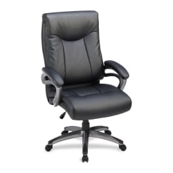 Lorell® Bonded Leather High-Back Chair, Black/Gun Metal