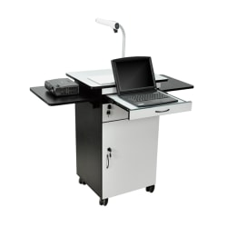 "Luxor 23-3/4"" Multimedia Workstation With Locking Cabinet, White/Black"