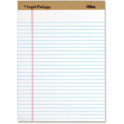 "Tops The Legal Pad 71533 Notepad - 50 Sheets - 8 1/2"" x 11"" - White Paper - Perforated - 12 / Dozen"