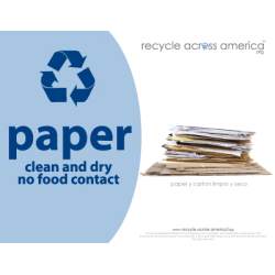 "Recycle Across America Paper Standardized Recycling Labels, P-8511, 8 1/2"" x 11"", Light Blue"
