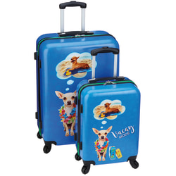 Overland Vacay Mode Dog Lovers 2-Piece Rolling Hardside Luggage Set, Blue