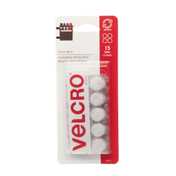 """VELCRO® Brand STICKY BACK® Fasteners, Coins, 5/8"""", White, Pack Of 15"""