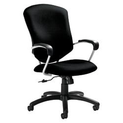 "Global® Supra™ High-Back Fabric Tilter Chair, 42""H x 26""W x 27""D, Black/Tungsten"