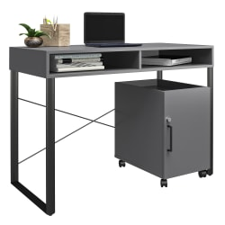 "Brenton Studio® Bexler 42""W Desk With Mobile Cart, Gray/Black"