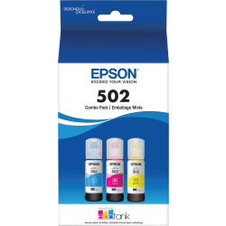 Epson® T502520-S Cyan/Magenta/Yellow Ink Bottles, Pack Of 3
