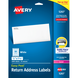 "Avery® Easy Peel® Permanent Laser Address Labels, Return, 1/2"" x 1 3/4"", FSC® Certified, White, Pack Of 2,000"