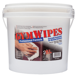 "2XL GymWipes Professional Formula Towelettes For Workout Surfaces, 6"" x 8"", White, Bucket Of 700"