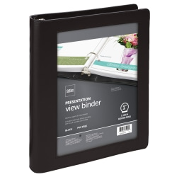 """Office Depot® Brand Classic-Style View 3-Ring Binder, 1"""" Round Rings, Black"""