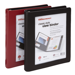 """Office Depot® Brand Classic-Style View Binder, 1"""" Rings, Assorted Colors"""