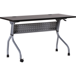 "Lorell® Flip Top Training Table, 48""W, Espresso/Silver"