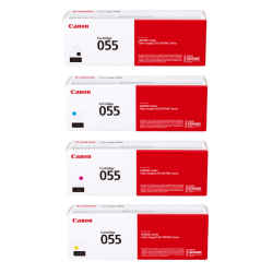 Canon Genuine 055 Complete 4-Color Toner Cartridges, Black/Yellow/Cyan/Magenta, Pack Of 4 Cartridges