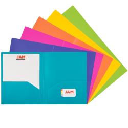 "JAM Paper® Heavy-Duty Plastic Presentation Folders, 9-1/2"" x 11-1/2"", Assorted Primary, Pack Of 6 Folders"