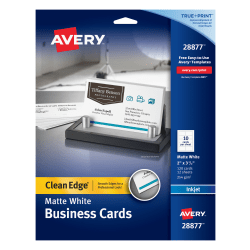 "Avery® Clean Edge® True Print™ Two-Side Printable Business Cards, 2"" x 3 1/2"", Matte White, Pack Of 120"