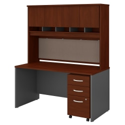"Bush Business Furniture Components 60""W Office Desk With Hutch And Mobile File Cabinet, Hansen Cherry/Graphite Gray, Standard Delivery"