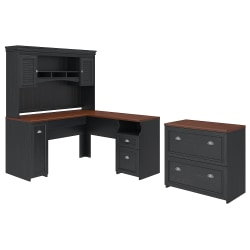 """Bush Furniture Fairview 60""""W L-Shaped Desk With Hutch And Lateral File Cabinet, Antique Black/Hansen Cherry, Standard Delivery"""
