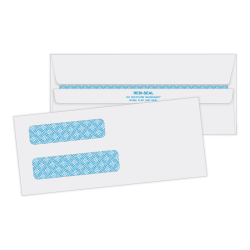 Quality Park® #8 5/8 Redi-Seal™ Double-Window Security Envelopes, Left Windows (Top/Bottom), Self-Seal, White, Box Of 500