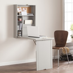 Southern Enterprises Fold-Out Convertible Wall-Mount Desk, Gray
