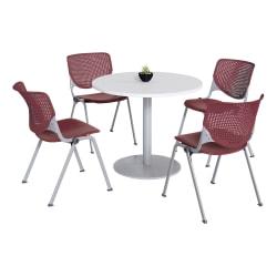 KFI Studios KOOL Round Pedestal Table With 4 Stacking Chairs, White/Burgundy