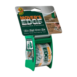 """Duck® Mover's Edge Packing Tape In Refillable Handheld Dispenser, 1.88"""" x 35 Yd., Multicolor Print"""