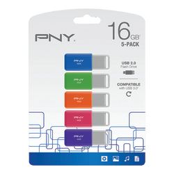 PNY USB 2.0 Flash Drives, 16GB, Assorted Colors, Pack Of 5