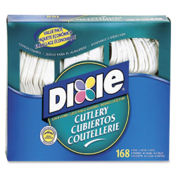 Dixie Heavyweight Disposable Forks, Knives & Spoons Combo Boxes by GP Pro - 168 / Box - 168 Piece(s) - 1008/Carton - 56 x Spoon - 56 x Knife - 56 x Fork - Plastic - White