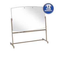 "Quartet® Large Reversible Total Erase™ Mobile Non-Magnetic Dry-Erase Whiteboard Easel, 72"" x 48"", Steel Frame With Neutral Finish"