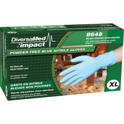 DiversaMed Disposable Nitrile Gloves, Powder-Free, X-Large, Blue, Box Of 50