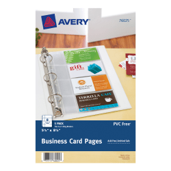"Avery® Business Card Pages, 5 1/2"" x 8 1/2"", Clear, Pack Of 5"